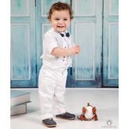 Βαπτιστικό Ρούχο για Αγόρια Λευκό Γκρι Mi Chiamo Α4205