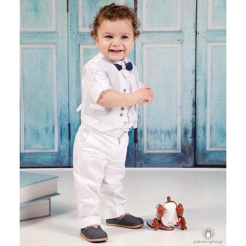 Βαπτιστικό Ρούχο για Αγόρια Λευκό Γκρι Mi Chiamo Α4205 1186306eae9