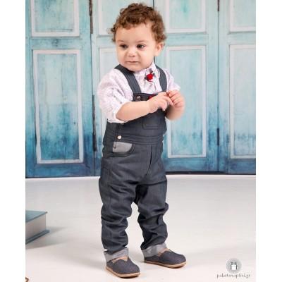 Βαπτιστικό Ρούχο για Αγόρια Jean Λευκό Mi Chiamo Α4206