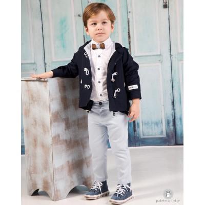 Βαπτιστικό Ρούχο για Αγόρια Σιέλ Μπλε Mi Chiamo Α4208