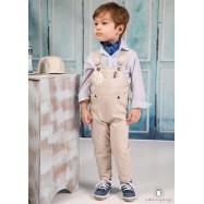 Βαπτιστικό Ρούχο για Αγόρια Μπεζ Λευκό Mi Chiamo Α4209