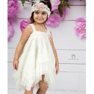 Βαπτιστικό Φόρεμα Ιβουάρ Mi Chiamo Κ4133