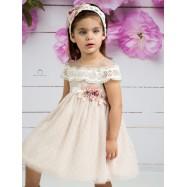 Βαπτιστικό Φόρεμα Πούδρα Mi Chiamo Κ4135