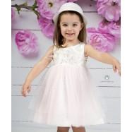 Βαπτιστικό Φόρεμα Λευκό Ροζ Mi Chiamo Κ4149