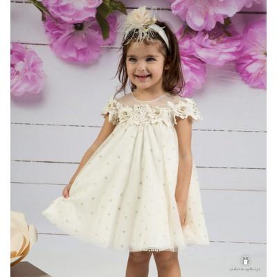 Βαπτιστικό Φόρεμα Ιβουάρ Mi Chiamo Κ4152