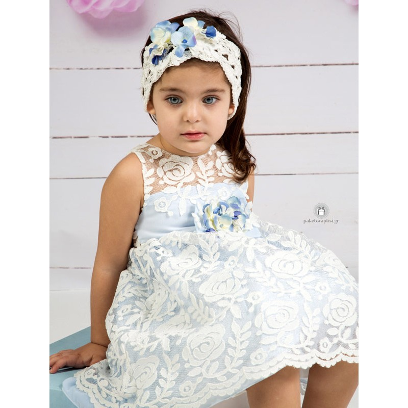 499895bbebd Βαπτιστικό Φόρεμα Σιέλ Mi Chiamo Κ4155