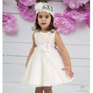 Βαπτιστικό Φόρεμα Λευκό Ροζ Mi Chiamo Κ4156