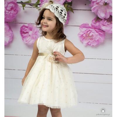 Βαπτιστικό Φόρεμα Ιβουάρ Χρυσό Mi Chiamo Κ4156