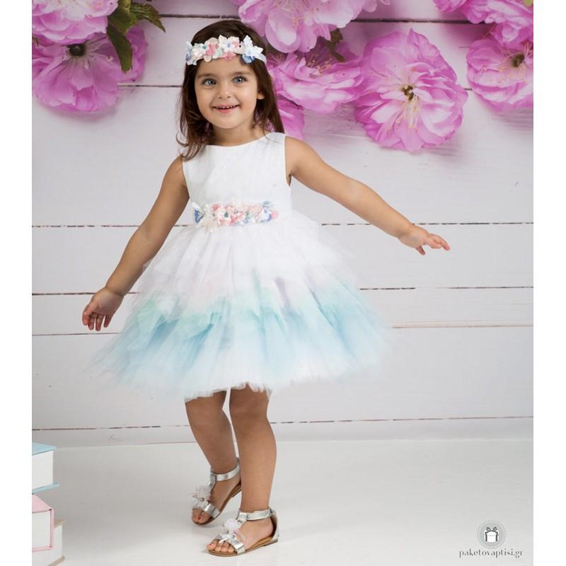 9f5ff7bd586 Βαπτιστικό Φόρεμα Λευκό Σιέλ Mi Chiamo Κ4158
