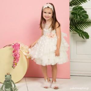 Βαπτιστικό Φόρεμα Ιβουάρ Mi Chiamo K4280