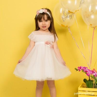 Βαπτιστικό Φόρεμα Old Pink Mi Chiamo K4287