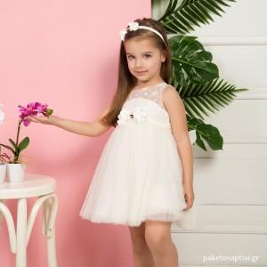 Βαπτιστικό Φόρεμα Ιβουάρ Mi Chiamo K4293E