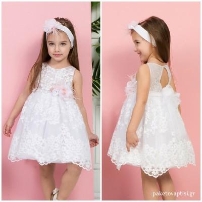 Βαπτιστικό Φόρεμα Λευκό Mi Chiamo K4285Λ
