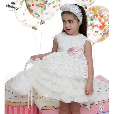 Φόρεμα Βάπτισης από Πλεκτή Δαντέλα και Τούλι Mi Chiamo Κ3765