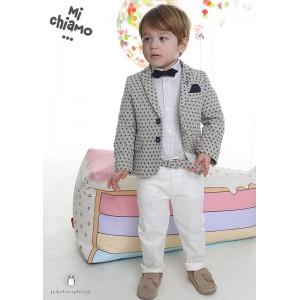 Βαπτιστικό Ρούχο για Αγόρια Μπεζ Σακάκι με Εκρού Παντελόνι Mi Chiamo Α4055