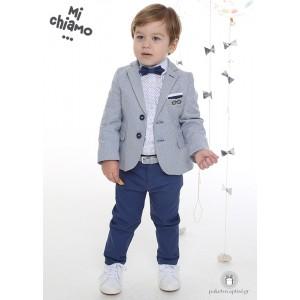 Βαπτιστικό Ρούχο για Αγόρια Γκρι Αρζάν Σακάκι με Μπλε Ραφ Παντελόνι Mi Chiamo Α4056