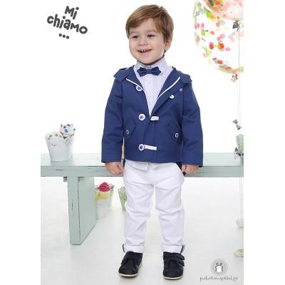 Βαπτιστικό Ρούχο για Αγόρια Μπλε Ραφ Πανωφόρι με Λευκό Παντελόνι Mi Chiamo Α4061