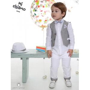 Βαπτιστικό Ρούχο για Αγόρια Γκρι Αρζάν Γιλέκο με Λευκό Παντελόνι Mi Chiamo Α4063