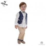 Βαπτιστικό Ρούχο για Αγόρια Μπλε Ραφ Γιλέκο με Μπεζ Παντελόνι Mi Chiamo Α4063