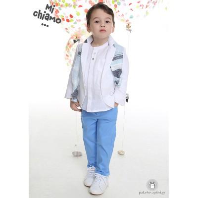 Βαπτιστικό Ρούχο για Αγόρια Λευκό Σακάκι με Σιέλ Παντελόνι Mi Chiamo Α4067