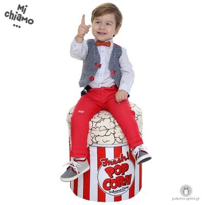 Βαπτιστικό Ρούχο για Αγόρια Μπλε Γιλέκο με Κόκκινο Jean Παντελόνι Mi Chiamo Α4069