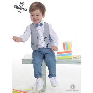Βαπτιστικό Ρούχο για Αγόρια Γκρι Αρζάν Γιλέκο με Πετρόλ Παντελόνι Mi Chiamo Α4071