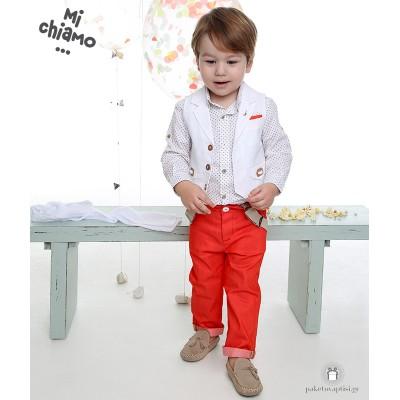 Βαπτιστικό Ρούχο για Αγόρια Λευκό Γιλέκο με Κοραλί Παντελόνι Mi Chiamo Α4074