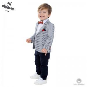 Βαπτιστικό Ρούχο για Αγόρια Γκρι Αρζαν Σακάκι με Μπλε Παντελόνι Mi Chiamo Α4055
