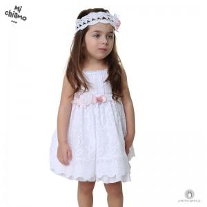 Bαπτιστικό Φόρεμα Λευκό Μπροντερί με Ροζ Λουλούδια Mi Chiamo Κ4026