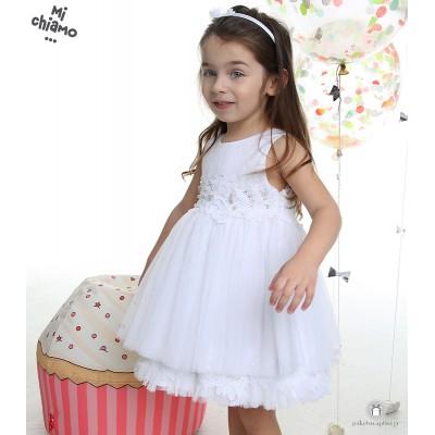 Φόρεμα Βάπτισης από Τούλι και Δαντέλα με Πέρλες Λευκό Mi Chiamo Κ4004