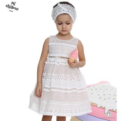 Φόρεμα Βάπτισης από Δαντέλα Εκρού με Σάπιο Μήλο Mi Chiamo Κ4005