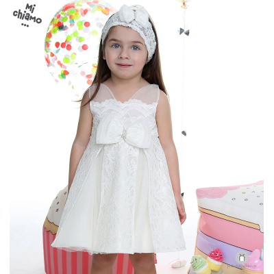 Φόρεμα Βάπτισης Τούλινη Δαντέλα Ιβουάρ Mi Chiamo Κ4008