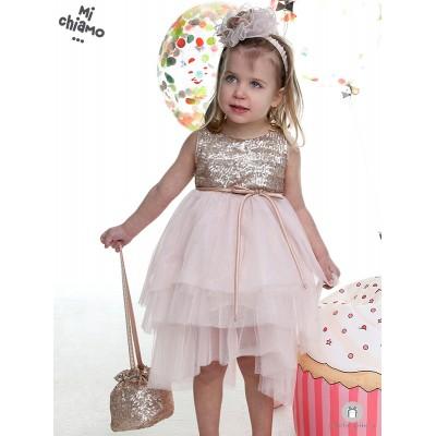 Φόρεμα Βάπτισης από Τούλι και Παγιέτες Μπρονζέ με Ροζ  Mi Chiamo Κ4011
