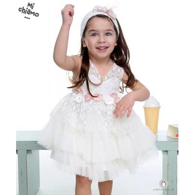 Φόρεμα Βάπτισης από Δαντέλα και Τούλι Ιβουάρ Mi Chiamo Κ4015