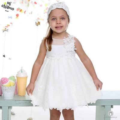 Φόρεμα Βάπτισης από Τούλι και Δαντέλα με Λουλούδια Ιβουάρ Mi Chiamo Κ4021