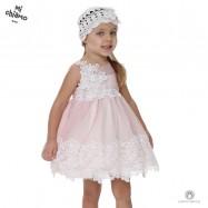 Φόρεμα Βάπτισης από Τούλι και Δαντέλα με Λουλούδια Σάπιο Μήλο Mi Chiamo Κ4021