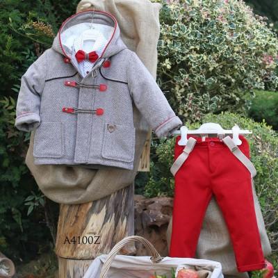 Βαπτιστικό Χειμερινό Σύνολο Κόκκινο Παντελόνι Γκρι Ανοιχτό Montgomery Mi Chiamo Α4100
