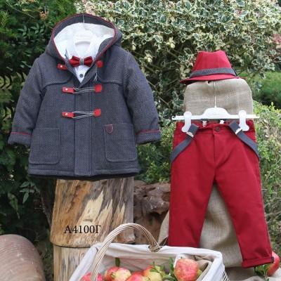 Βαπτιστικό Χειμερινό Σύνολο Κόκκινο Παντελόνι Γκρι Montgomery Mi Chiamo Α4100
