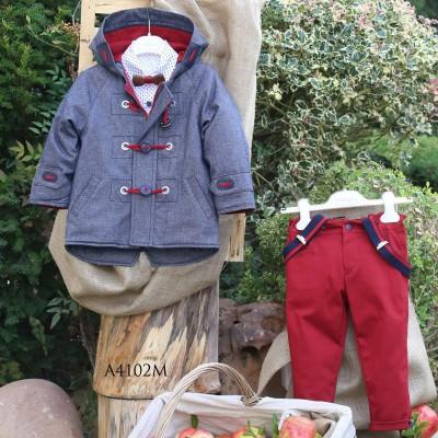 Βαπτιστικό Χειμερινό Σύνολο Κόκκινο Παντελόνι Γκρι-Μπλε Montgomery Mi Chiamo Α4102