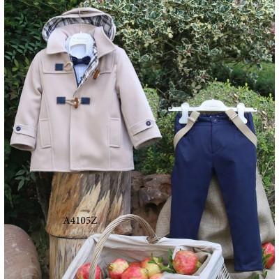 Βαπτιστικό Χειμερινό Σύνολο Μπλε Παντελόνι Εκρού Montgomery Mi Chiamo Α4105