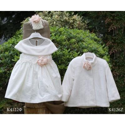 Χειμερινό Βαπτιστικό Εκρού Φόρεμα από Μπροκάρ και Γούνα Mi Chiamo K4122