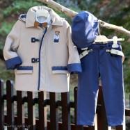 Βαπτιστικό Χειμερινό Σύνολο Εκρού με Μπλε Ραφ Mi Chiamo A4260Ε