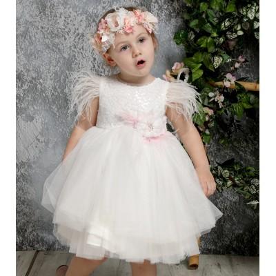 Βαπτιστικό Φόρεμα Ιβουάρ Mi Chiamo K4277