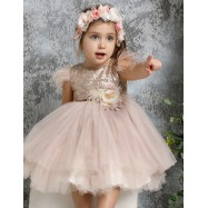 Βαπτιστικό Φόρεμα Μπρονζέ Mi Chiamo K4277