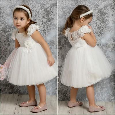 Βαπτιστικό Φόρεμα Ιβουάρ Mi Chiamo K4313