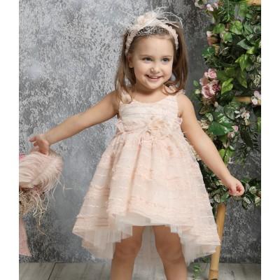 Βαπτιστικό Φόρεμα Ροδακινί Mi Chiamo K4317