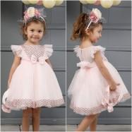 Βαπτιστικό Φόρεμα Ροζ Mi Chiamo K4319