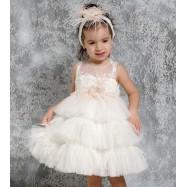 Βαπτιστικό Φόρεμα Ιβουάρ με Σομόν Mi Chiamo K4320