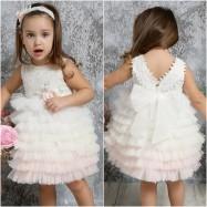 Βαπτιστικό Φόρεμα Ιβουάρ με Ροζ Mi Chiamo K4321