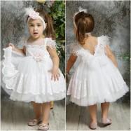 Βαπτιστικό Φόρεμα Λευκό Mi Chiamo K4322